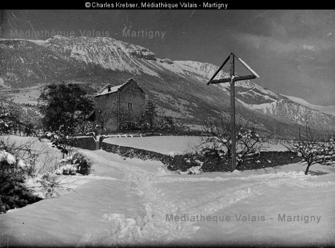 Muzot en hiver 1927, Charles Krebser (Médiathèque Valais)