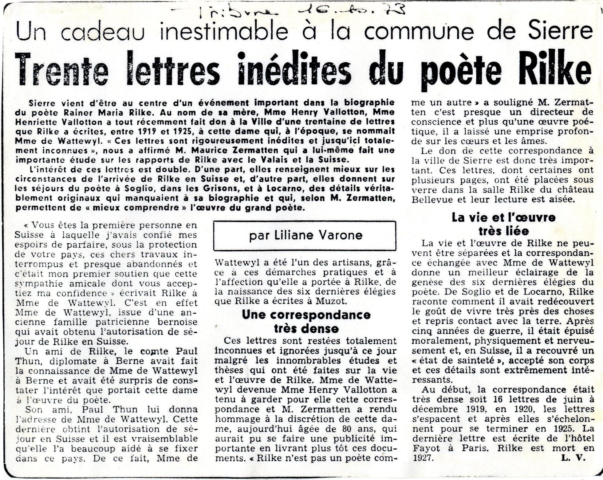 Schenkung 1975, Zeitungsartikel