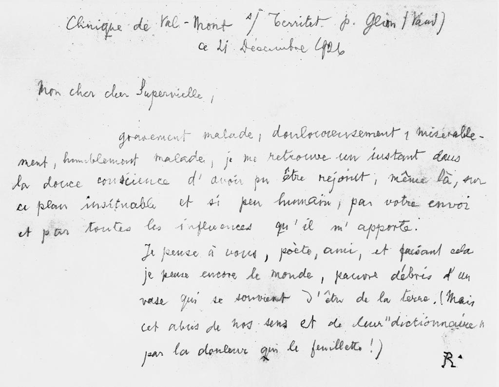 Lettre à Jules Supervielle, 21 décembre 1926