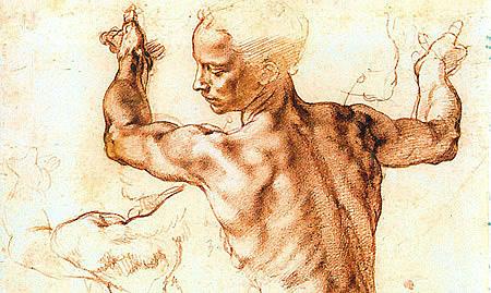 Michel-Ange: détail de l'étude pour la Sibylle de Libye, 1511